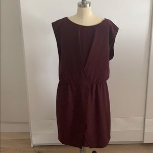 A burgundy-purple midi dress